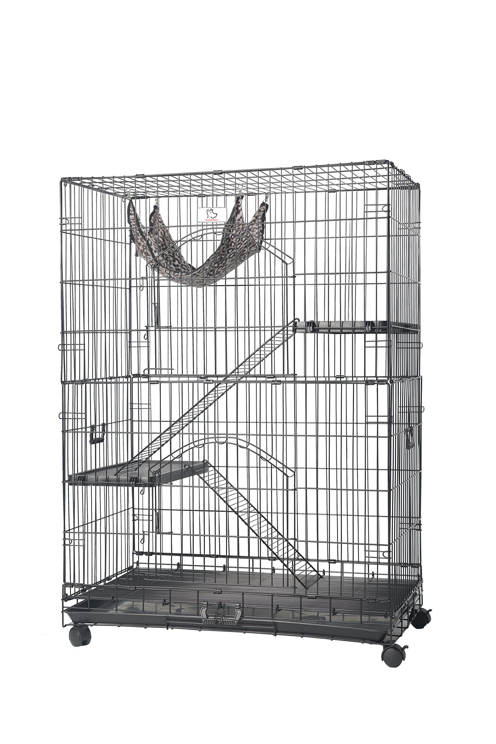 Homey Pet-36 Three Tiers Cat Cage w/Pull Out Tray, Sleeping Platform and Casters(CT-P3W)