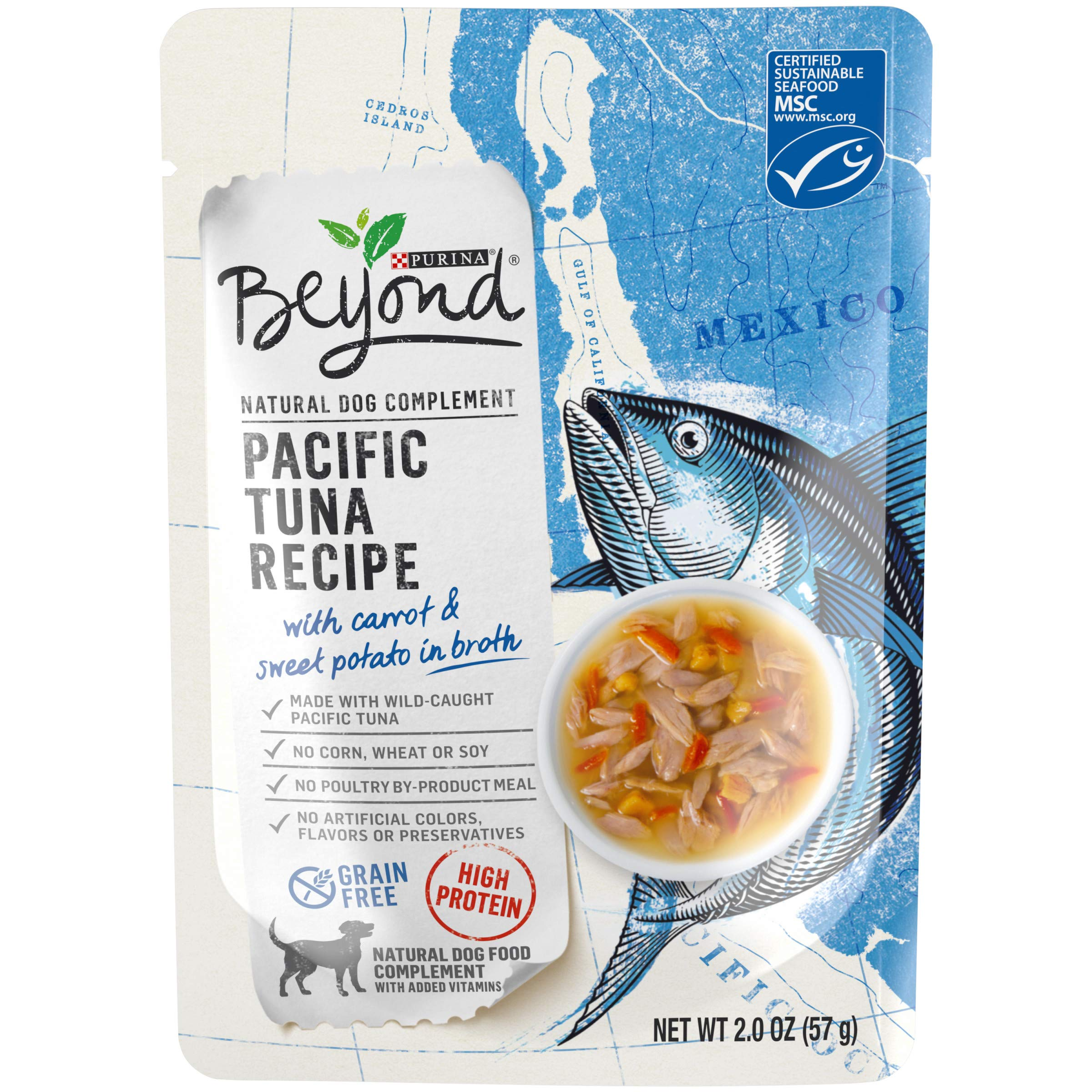 Purina Beyond Natural, High Protein, Grain Free Wet Dog Food Complement, Pacific Tuna Recipe - (16) 2 oz. Pouches by Purina Beyond