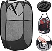 YESURPRISE Pop-up Laundry Hamper, Strong Mesh Bag with Portable Handles & Side Pocket, Foldable Laundry Net Basket for Home,C