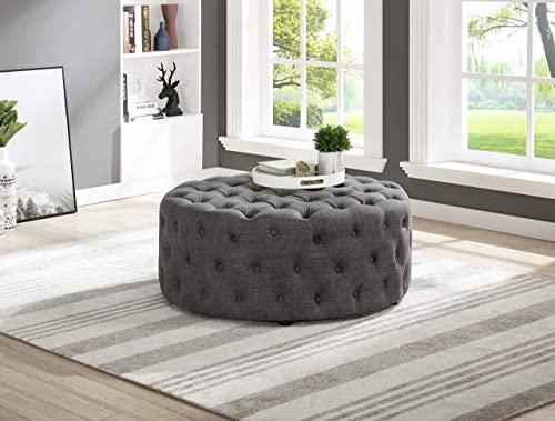 Master Furniture Sherlyn Tufted Round Ottoman/Footstool