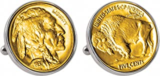 product image for American Coin Treasures Gold-Layered Buffalo Nickel Silvertone Bezel Cuff Links
