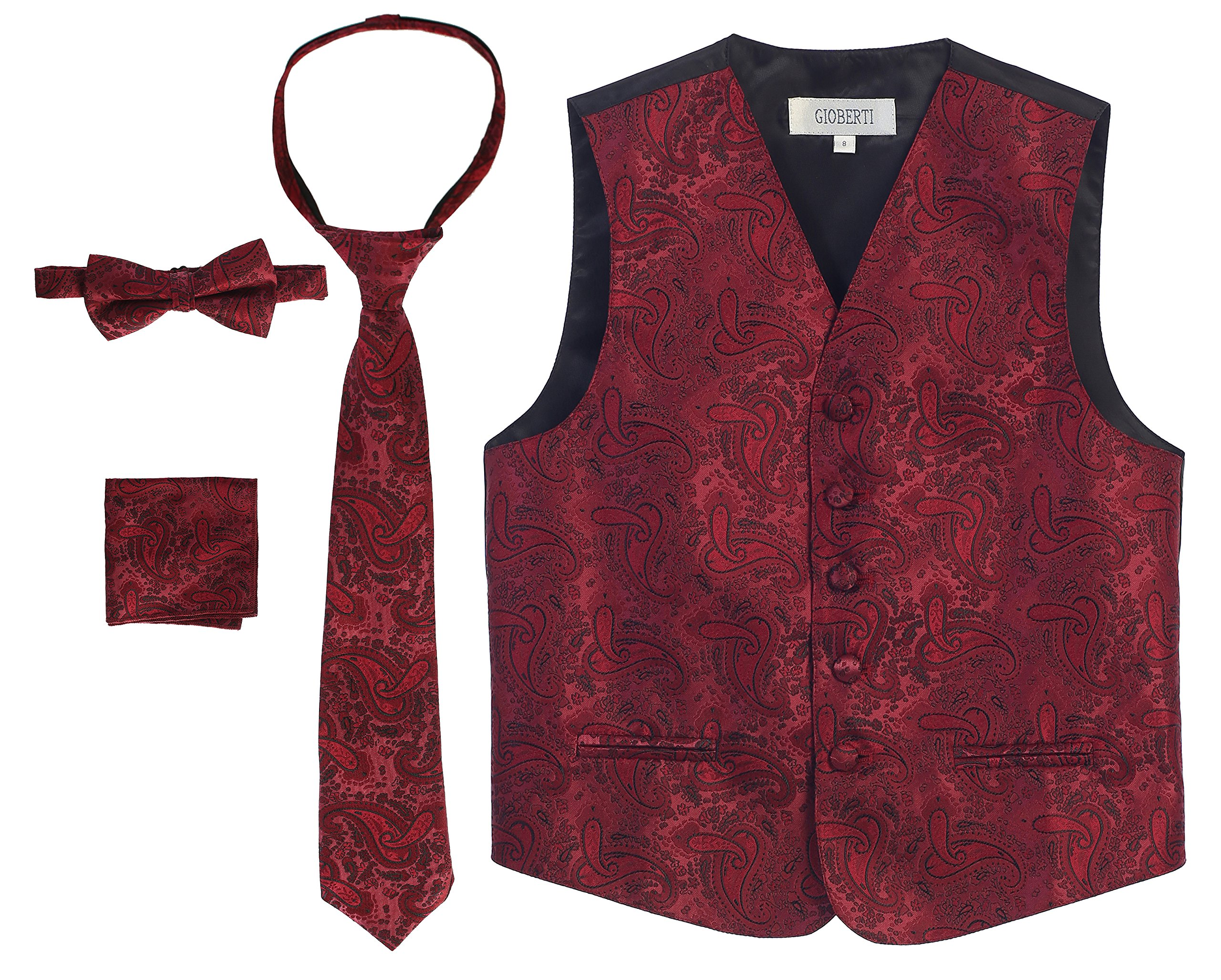 Gioberti Boy's 4 Piece Formal Paisley Vest Set, Burgundy, Size 12