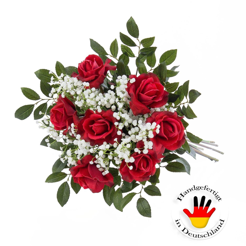 Mazzo di rose artificiali AMELIE con gipsofila e foglie, rosso, 70 cm, Ø35cm - Bouquet artificiale / Bouquet cerimonia - artplants