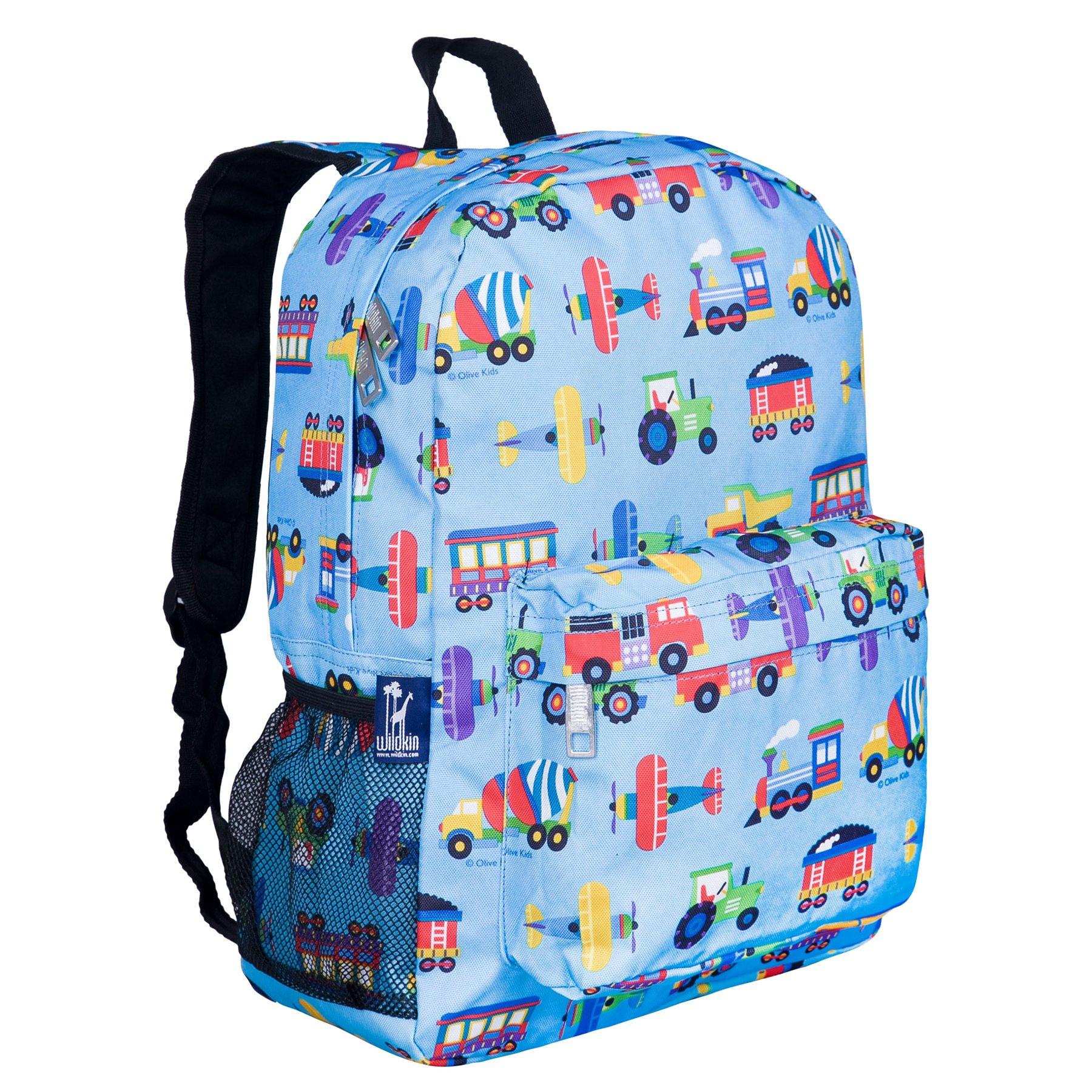 Wildkin 16 inch Backpack, Durable Backpack Padded Straps, Front Pocket, Moisture-Resistant Lining Side Pockets, Perfect School Travel, Olive Kids Design – Trains, Planes, & Trucks