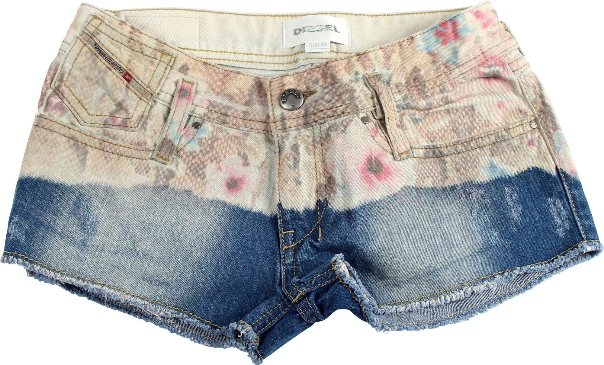 Diesel Big Girls' Matic Denim Short with Floral Print, Indigo, 14 Years