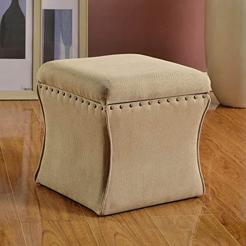 HomePop Cinched Square Storage Ottoman