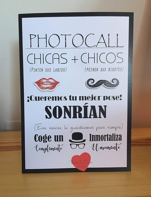 Cartel Photocall, con soporte, con instrucciones para las fotos, bodas, comuniones, eventos
