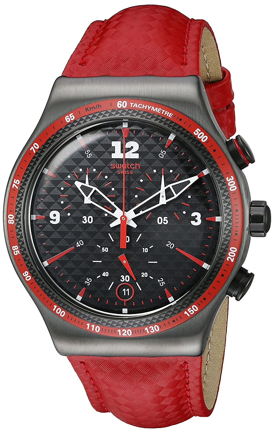 c4e59f2e166 Swatch Men s YVM401 Irony Analog Display Swiss Quartz Red Watch