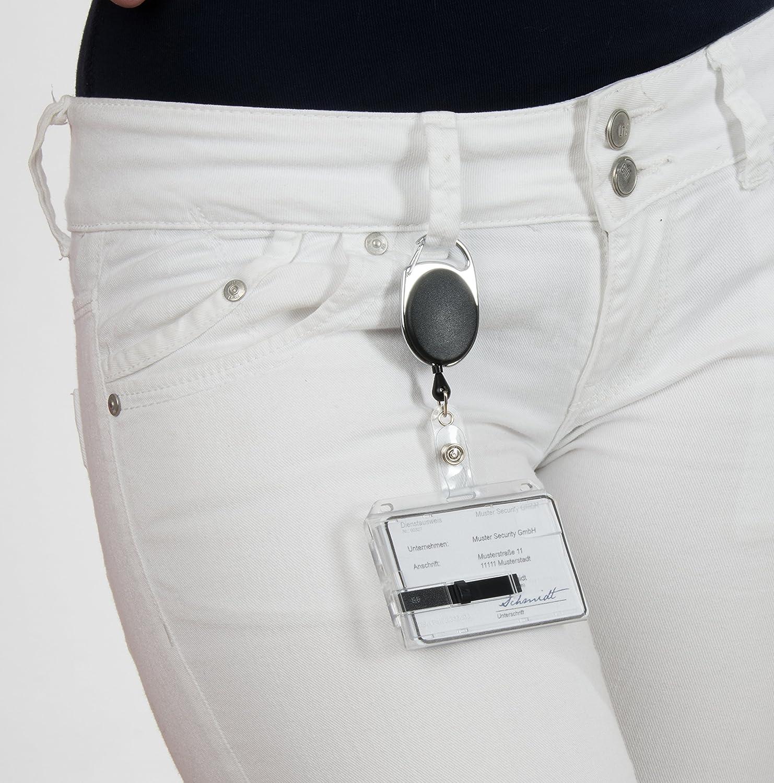 Noir avec mousqueton et clip de fixation Porte-badge pour carte d/'identification en plastique rigide avec curseur et badge yoyo transparent