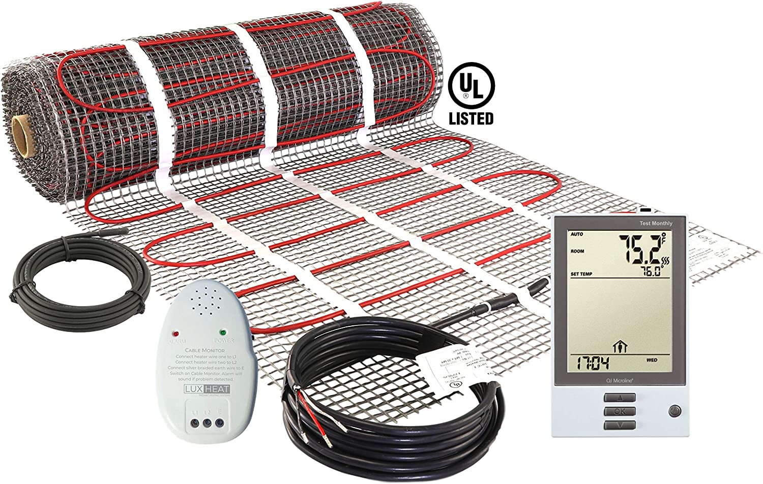 LuxHeat 10 Sqft Mat Kit (120v) Electric Radiant Floor Heating System for Under tile, Stone & Laminate. Includes Self-Adhesive Heat Mat, OJ Microline Programmable Thermostat with GFCI & Cable Monitor