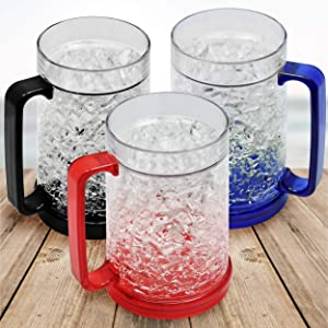 Double Wall Gel Frosty Freezer Ice Mugs, Set of 3 Frosty Beer Mugs with Handle Great as Old Fashion Drinking Glasses at BBQs and Parties