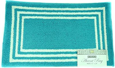 "DINY Home & Style Accent Rug Rectangle Boxes Design 17"" x 28"" Machine Washable Latex Backing (Turquoise)"
