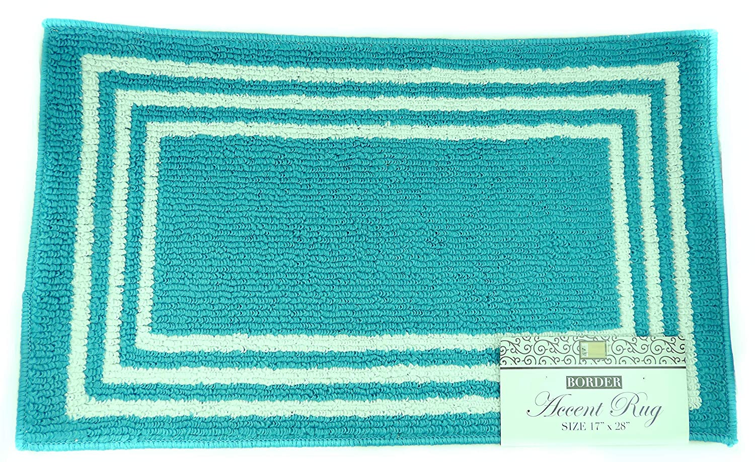 Turquoise Dependable Industries inc DINY Home /& Style Accent Rug Rectangle Boxes Design 17 x 28 Machine Washable Latex Backing