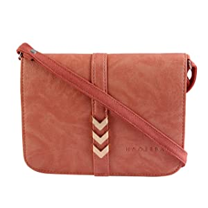 Pink Leatherette Material Sling Bag For Women