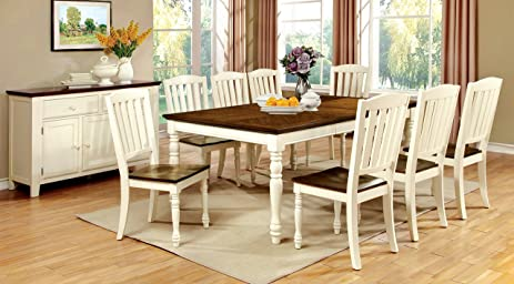 Furniture Of America Pauline 9 Piece Cottage Style Dining Set, Vintage  White U0026 Dark