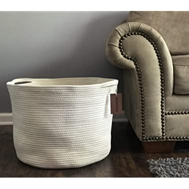 Cotton Rope Storage Baskets 23.6 x17.7 x13.8'' Extra Large Boho Blanket Basket Living Room Woven Toy Storage Bin for Blankets Tall Laundry Hamper Baby Nursery Hampers