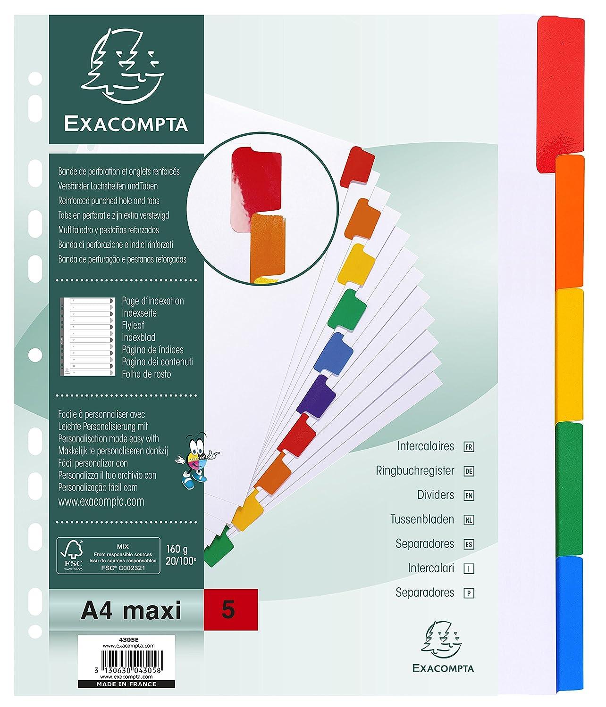 Exacompta 4305E Divisori e Segnaletica, 29.70 x 24.50 x 0.10 cm, Bianco