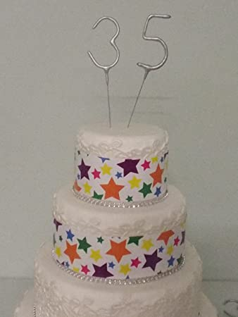 Sparkler Sparkling Birthday Cake Candles Age Aged 35 35th Amazoncouk Toys Games