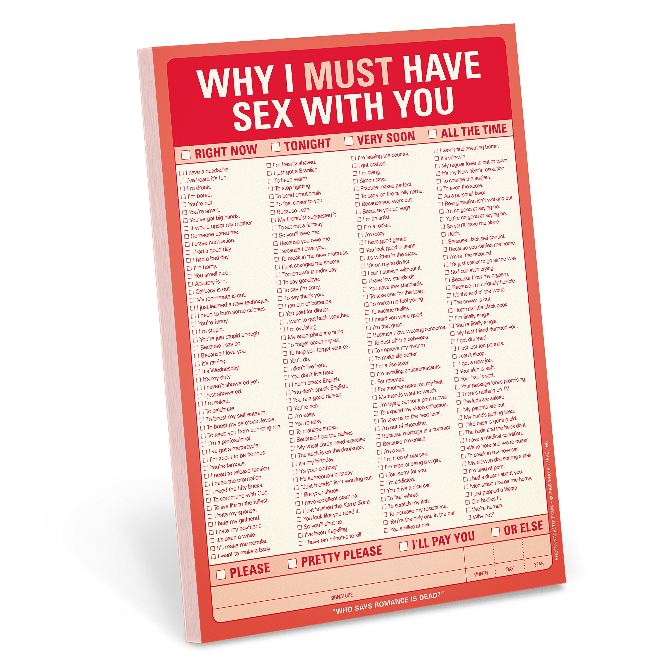 Why I must have sex with you note pad