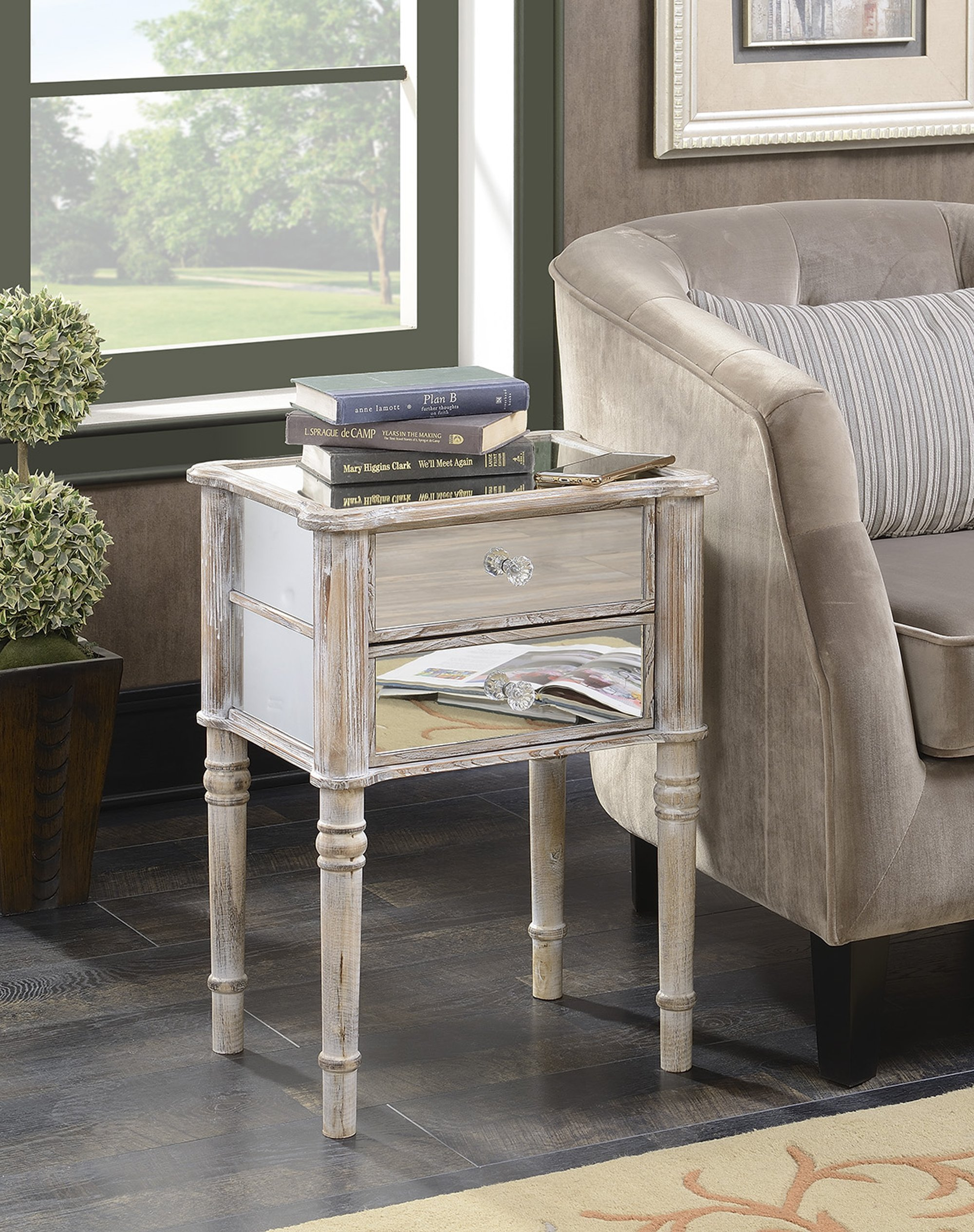 Convenience Concepts Gold Coast Collection Mayfair Mirrored End Table, Weathered White by Convenience Concepts