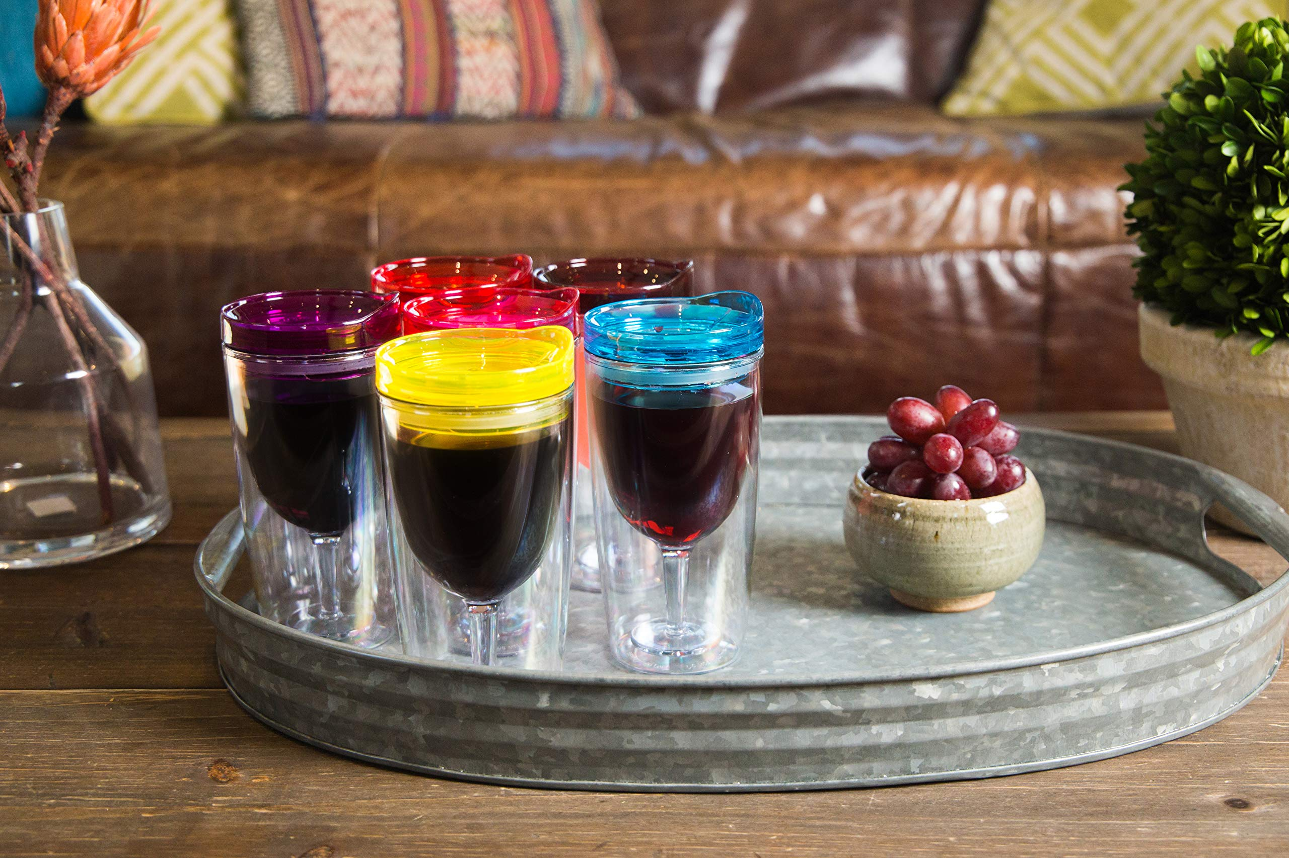 Insulated Wine Tumbler With Lid (SET OF 10) +BONUS Name Decals | Outdoor Acrylic Plastic Wine Glasses | 10oz Cup Tumblers in 10 Colors - Adult Sippy | Unbreakable Stemless Wine Glass by STRATA CUPS (Image #6)