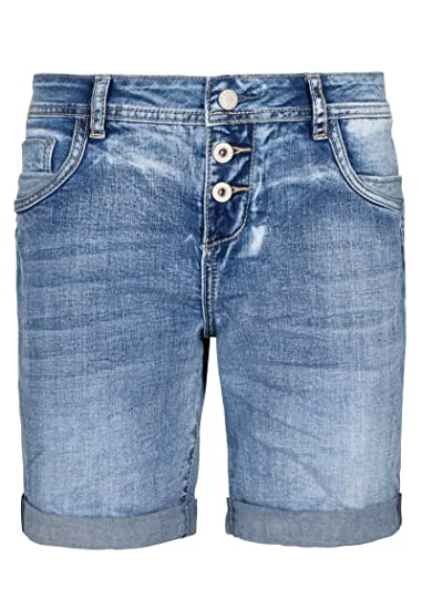 Sublevel Damen Denim Bermuda Shorts mit Aufschlag | Bequeme Kurze Hose im Used Look