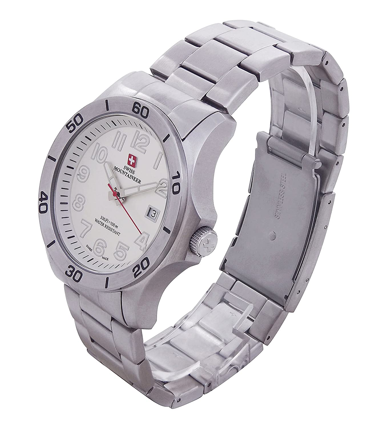 Amazon.com: Swiss Mountaineer Mens Swiss Watch Silver Tone Stainless Steel Bracelet Easy Read Dial Date Reloj SML8011: Swiss Mountaineer: Watches