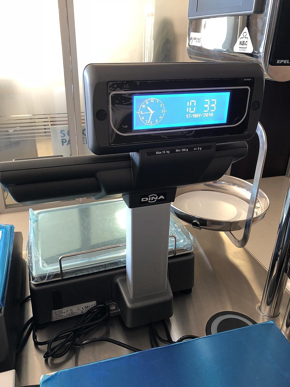Balanza Comercial de Doble Cuerpo DINA con Impresora Tickets (15 Kg/5gr) Display Gráfico Azul: Amazon.es: Industria, empresas y ciencia