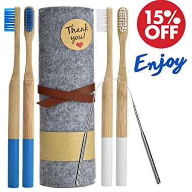 Bamboo Toothbrushes Organic Biodegradable Natural Wood w/Reusable Travel Case Soft Medium Bristles Pack of 4 for Adults Men Women Home Guest Vegan & BPA-Free