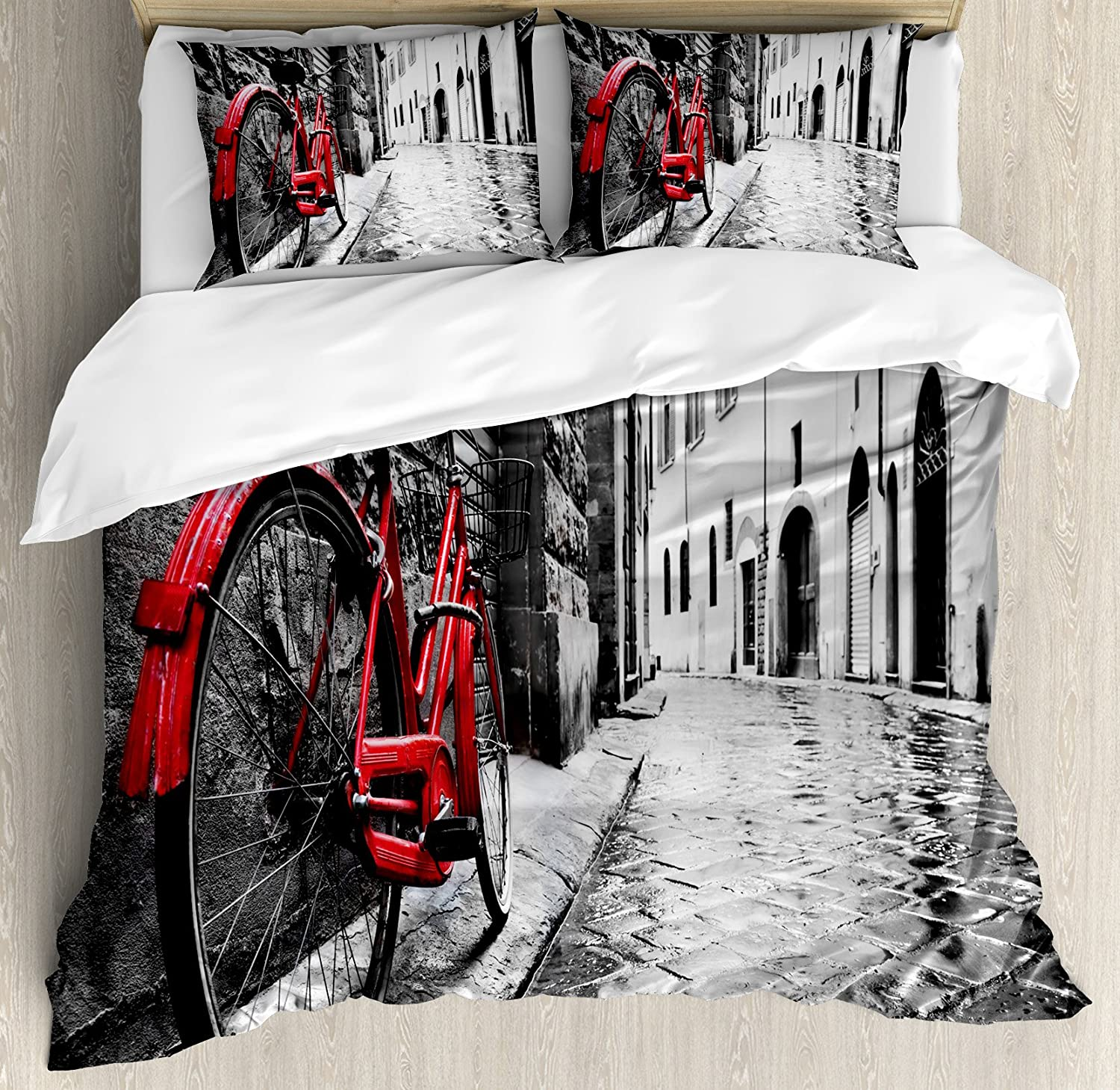 durable service Ambesonne Bicycle Duvet Cover Set Queen Size, Classic Bike on Cobblestone Street in Italian Town Leisure Artistic Photo, Decorative 3 Piece Bedding Set with 2 Pillow Shams, Red Black and White