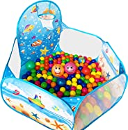 KingBee Ball Pit Pop Up Children Play Tent, Ocean Pool Baby Tent with Basketball Hoop - Toys Gifts for Kids Girls Boys Toddle
