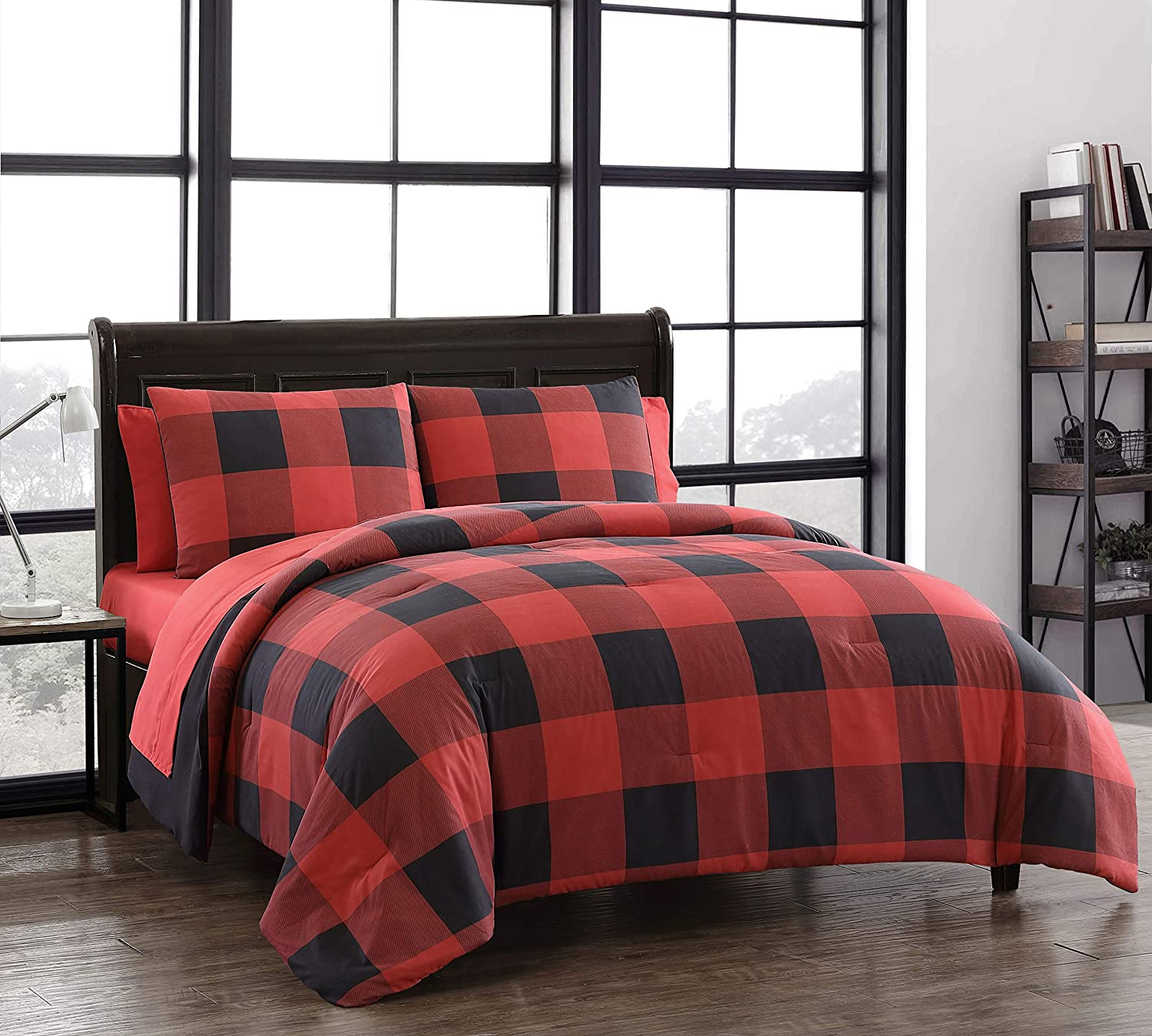 Amazon Com Addison Home 7 Piece Buffalo Plaid King Comforter Set Bed In A Bag Lightweight Ultra Soft Microfiber Reversible Comfortable Bedding Set Hypoallergenic Bedspread King Red And Black Home Kitchen