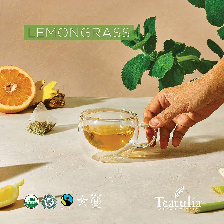 Teatulia Organic Lemongrass Tea + Bay Leaf Herbal Blend, 50 Corn Silk Pyramid Tea Bags, Naturally Caffeine-Free Whole Leaf Tea Bags | Bulk Packaging for Organic Herbal Tea Lovers