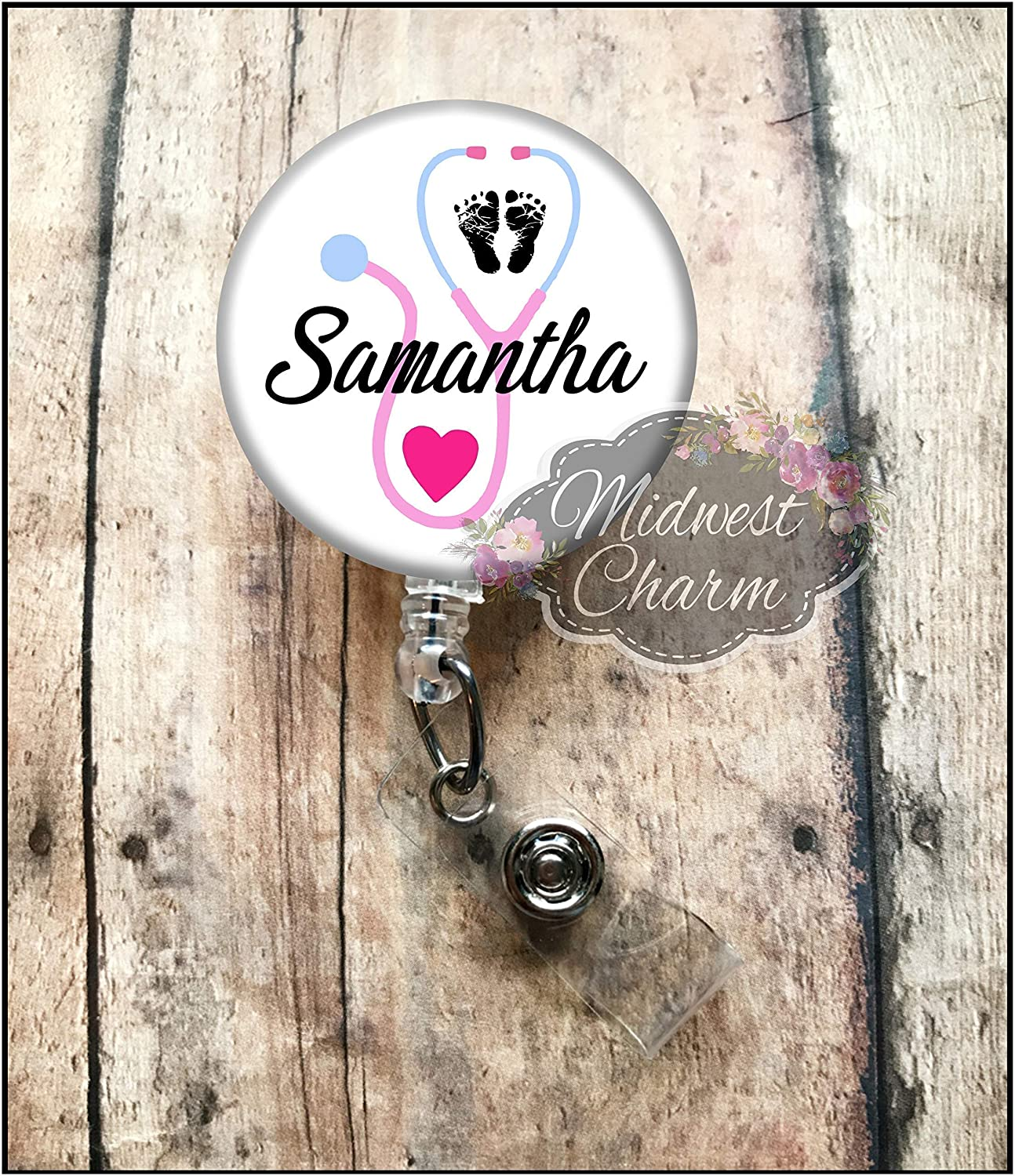 Retractable baby feet badge holder reel Personalized Christmas Gift Midwest Charm ob L/&D baby feet and stethoscope id holder nurse gift