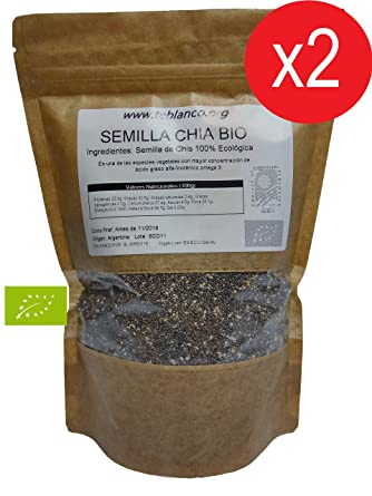 Pack 2 x 1Kg Semilla de Chia Ecológica Certificada: Amazon ...