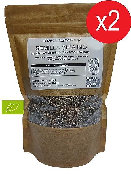 Pack 2 x 1Kg Semilla de Chia Ecológica Certificada: Amazon.es ...
