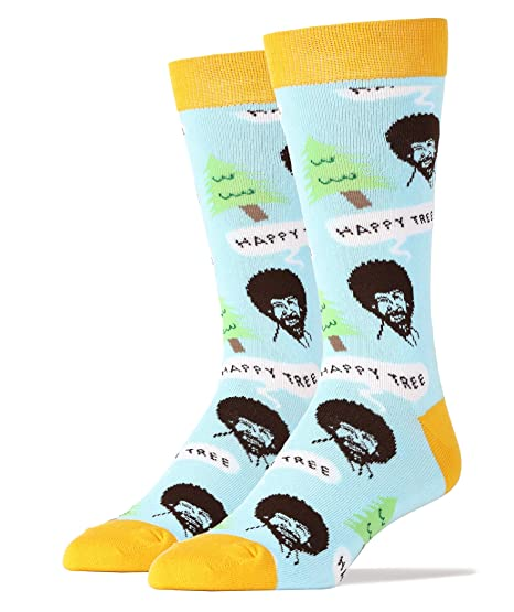limited price temperament shoes usa cheap sale Mens Funny Novelty Crew Bob Ross Socks
