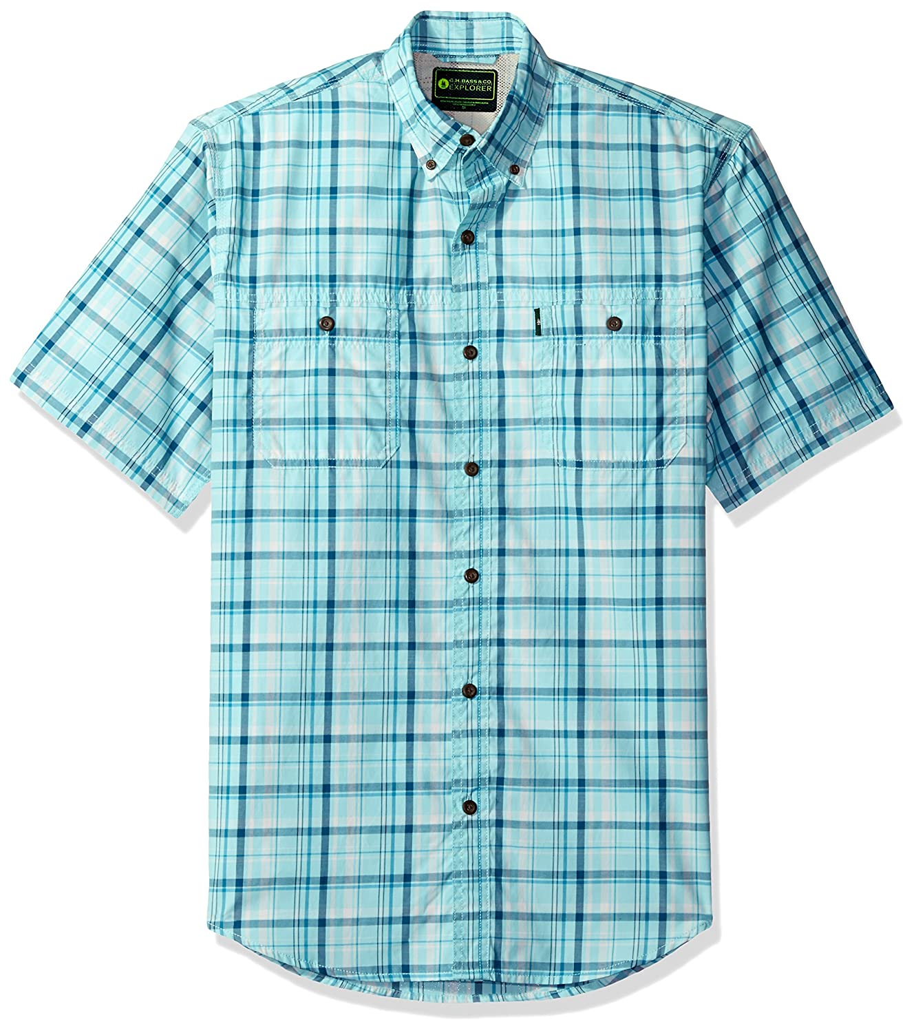 Bass Mens Explorer Fancy Short Sleeve Plaid Shirt Arrow Men' s Tops 5279503