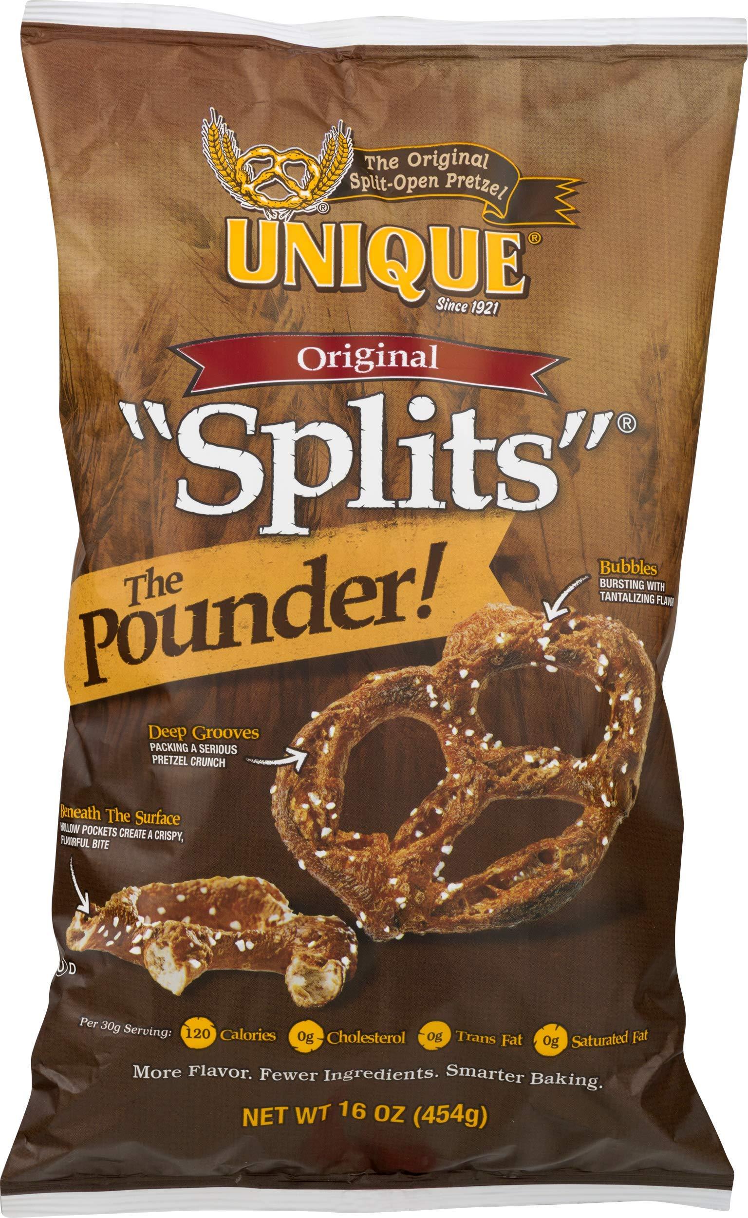 Unique Pretzels Original ''Splits'' Pretzels, 16 Ounce, 12 Bags