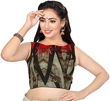 131f4d88b12bd4 Amazon.com: TrendyFashionMall Readymade Sleeveless Printed Cotton Saree  Blouse Multi Color Collection: Clothing