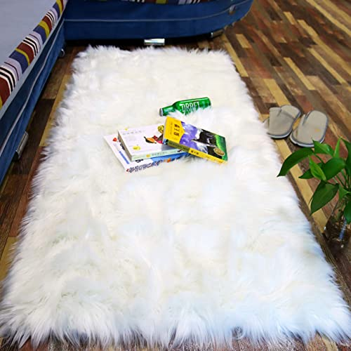 Lowest Price 2.3×5 feet White Sheepskin Faux Fur Rug White Shaggy Fluffy Rug Carpet Bedroom Floor Living Room Sofa Soft Fluffy Fur Area Carpet Rug Bedroom Bay Window Christmas Home Decor