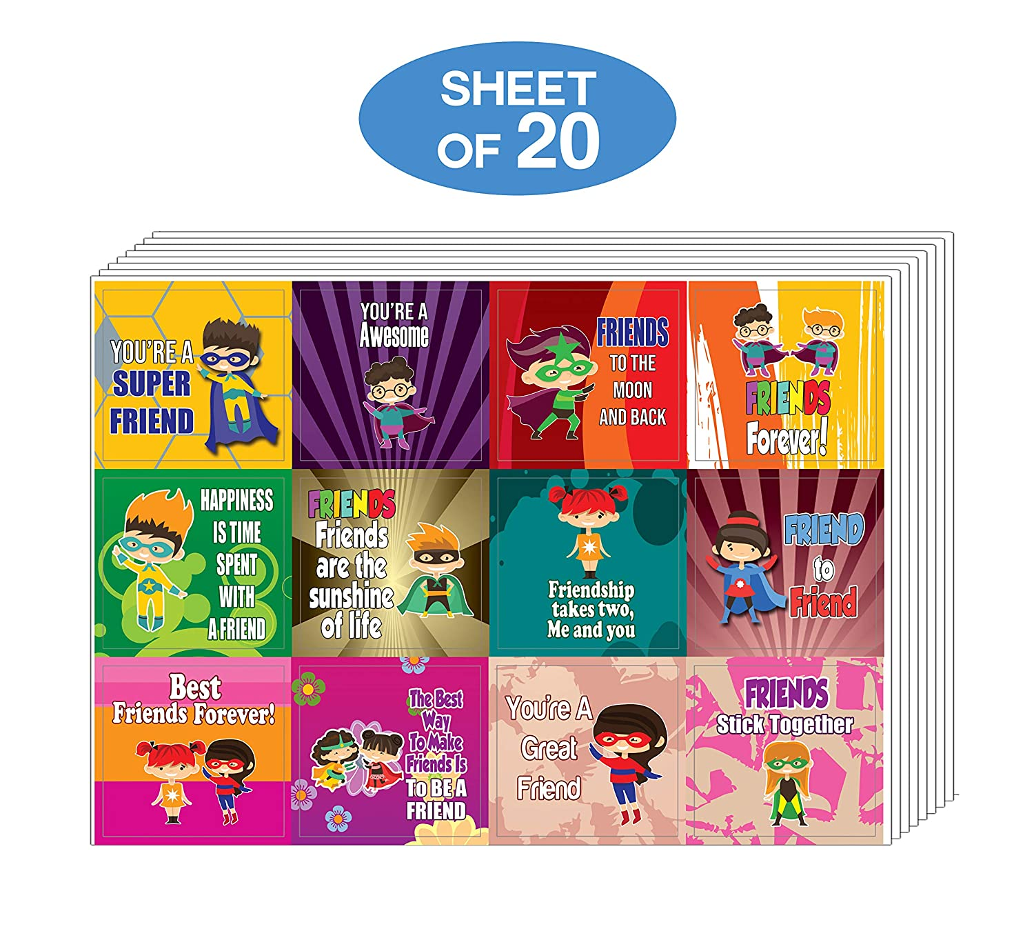 Teens Party Supply Stocking Stuffers Gifts for Boys /& Girls Creanoso Superhero Friendship Stickers Colorful Giveaways for Children 20-Sheet Classroom and School Reward Incentives
