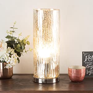 Lavish Home 72-Uplt-1 Table Lamp with Silver Mercury Finish, Textured Tree Bark Pattern and Included LED Light Bulb for Home Uplighting