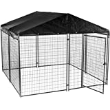Lucky Dog Dog Kennel with Waterproof Cover Modular Box Kennel - This Welded Animal Enclosure is Perfect for Medium to Large Dogs and Animals and is Designed with Their Safety and Comfort in Mind