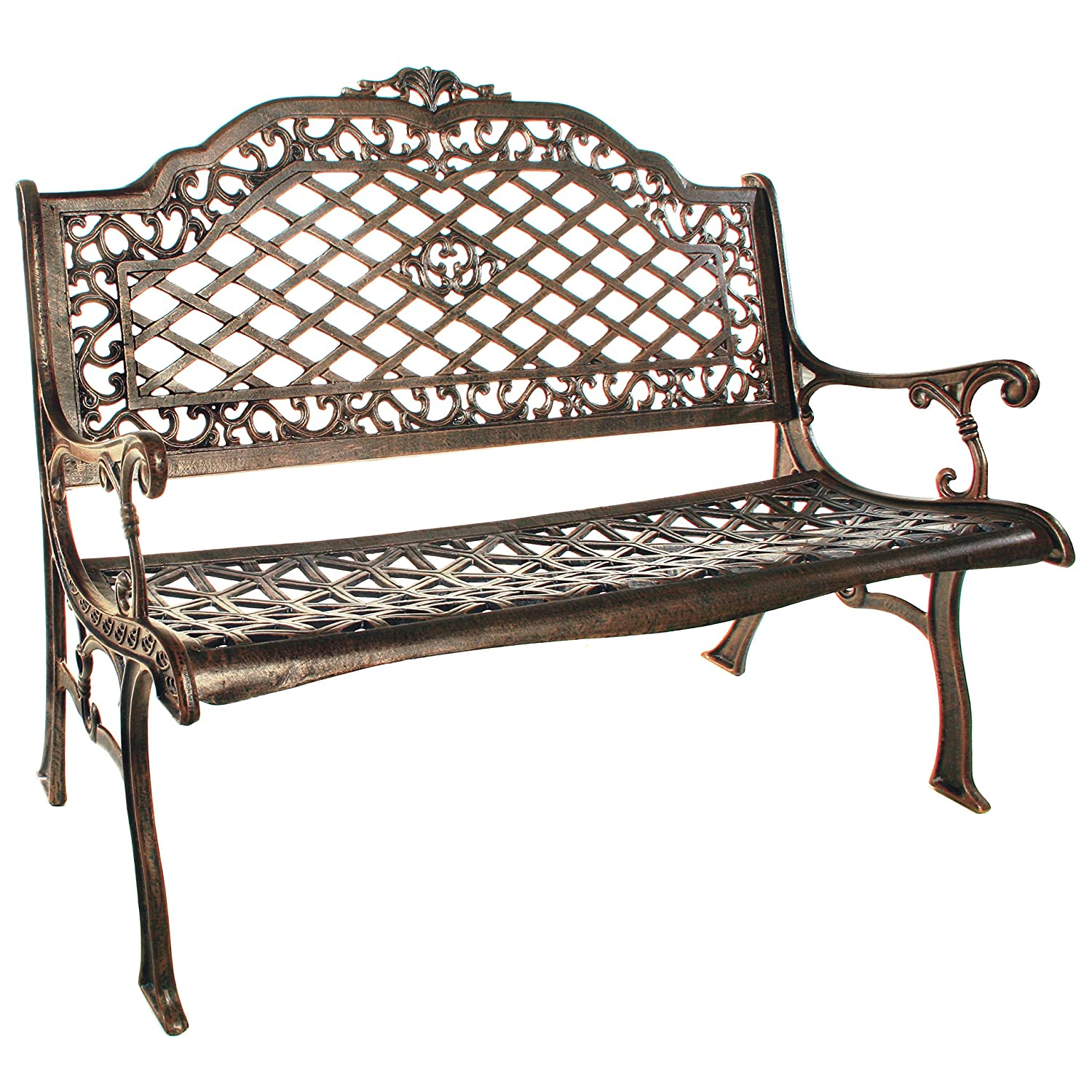 Amazon.com : Oakland Living Mississippi Cast Aluminum High Back Bench,  Antique Bronze : Outdoor Benches : Garden U0026 Outdoor