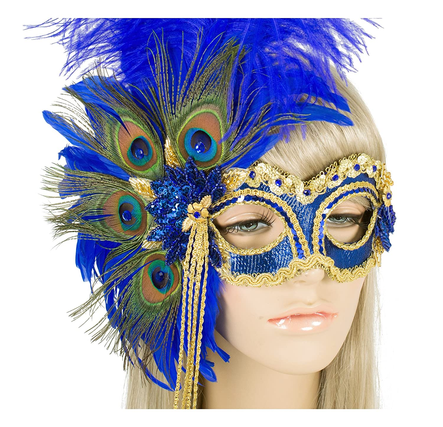 Masquerade Ball Clothing: Masks, Gowns, Tuxedos Handmade in USA Masquerade Mask with Peacock Feathers and Crystals $169.99 AT vintagedancer.com