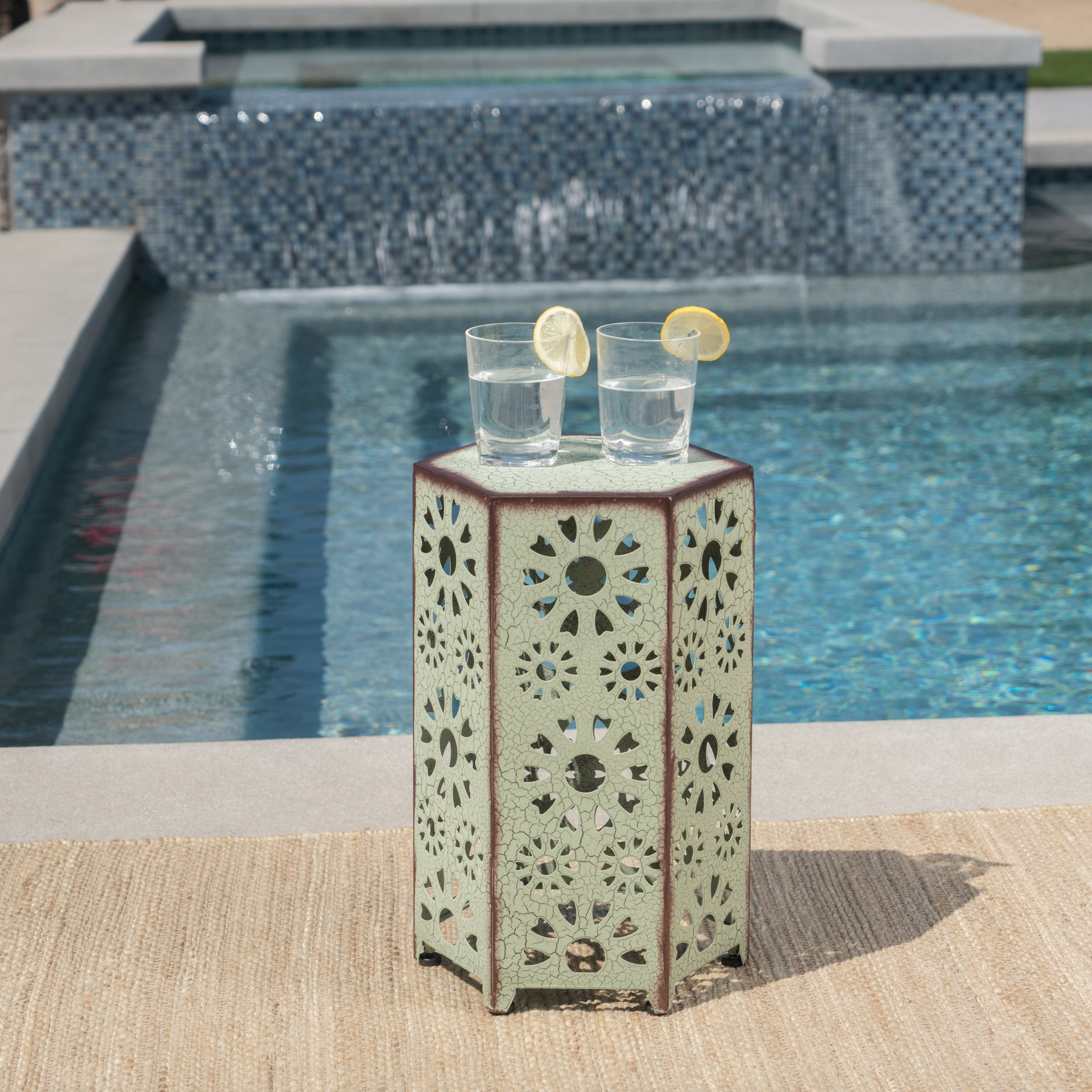 Christopher Knight Home 301958'' Eliana CKH Outdoor Accent Tables, Crackle Green by Christopher Knight Home