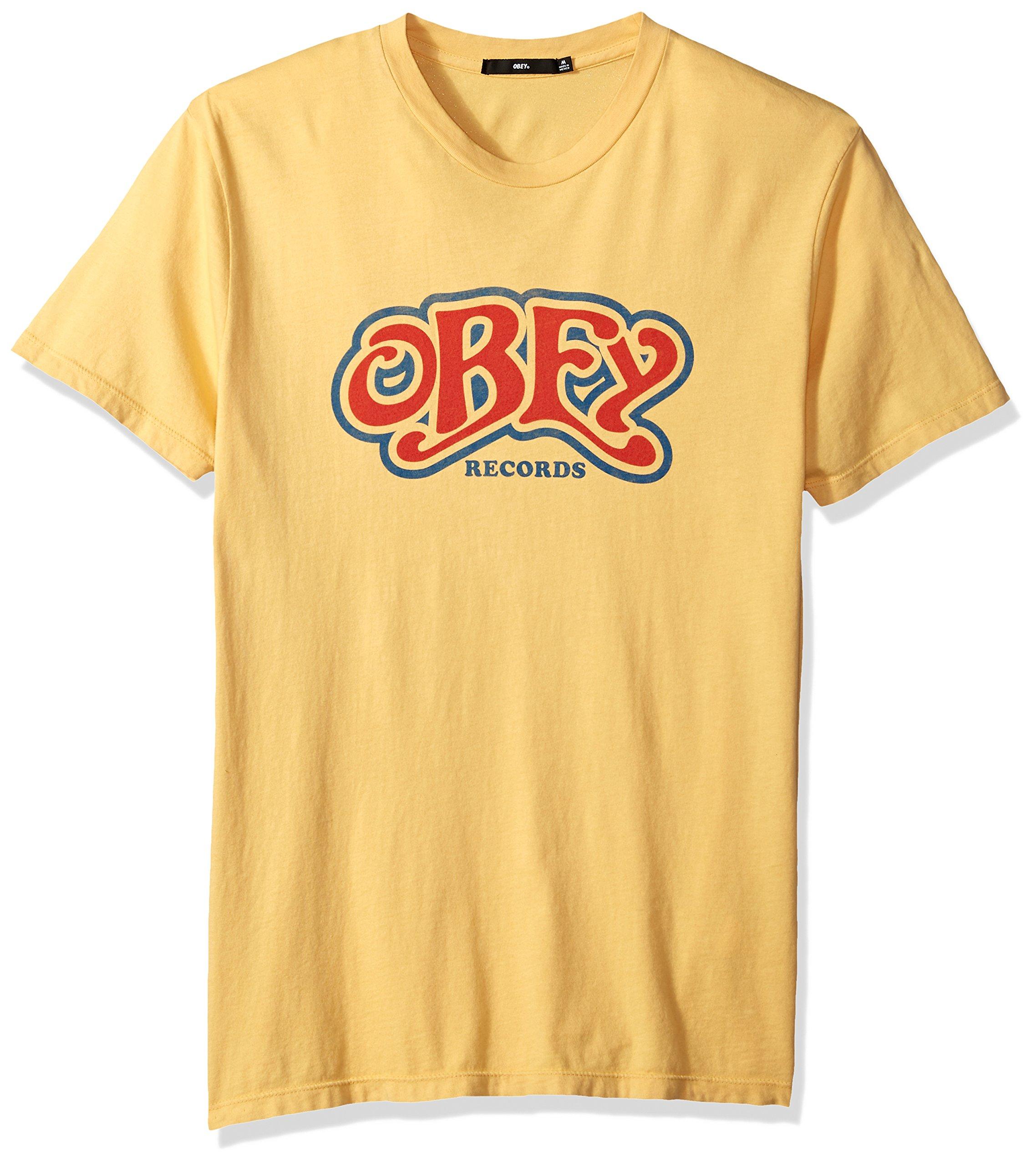 Obey Men's Cumberland Crewneck T-Shirt, Yellow, L