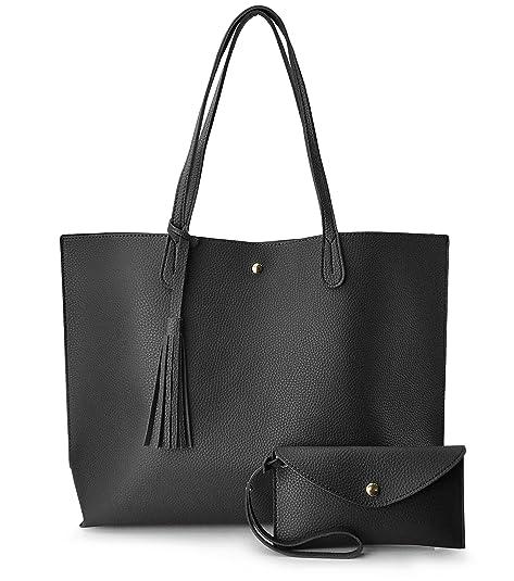 ef6d5c352be Minimalist Clean Cut Pebbled Faux Leather Tote Womens Shoulder Handbag ( Black)