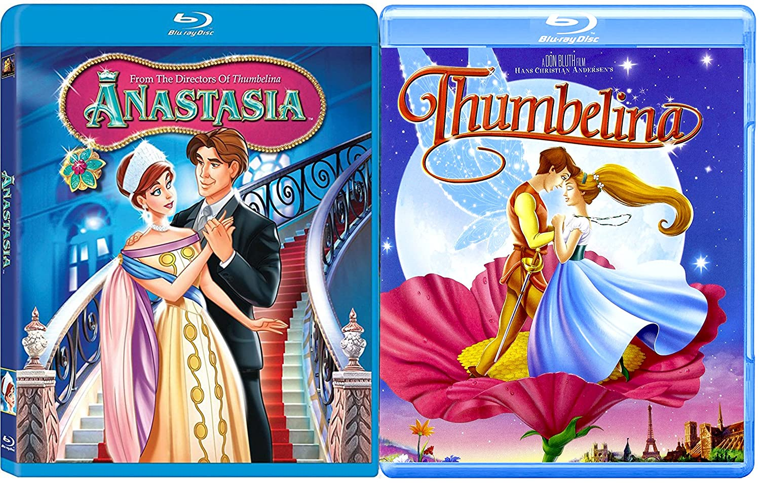 amazon com thumbelina and anastasia blu ray animated movie set barbara cook june foray will ryan jodi benson gino conforti meg ryan john cusack christopher lloyd kelsey grammer hank azaria don bluth gary thumbelina and anastasia blu ray animated movie set